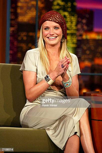 Actress Cameron Diaz appears on 'The Tonight Show with Jay Leno' at the NBC Studios on June 23 2003 in Burbank California