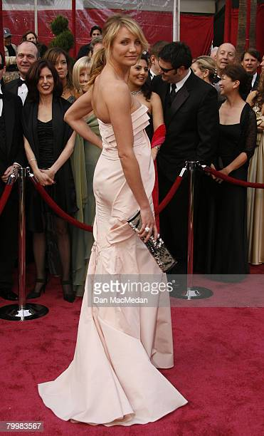 Actress Cameron Diaz arrive on the red carpet for The 80th Annual Academy Awards held at the Kodak Theater on February 24 2008 in Hollywood California