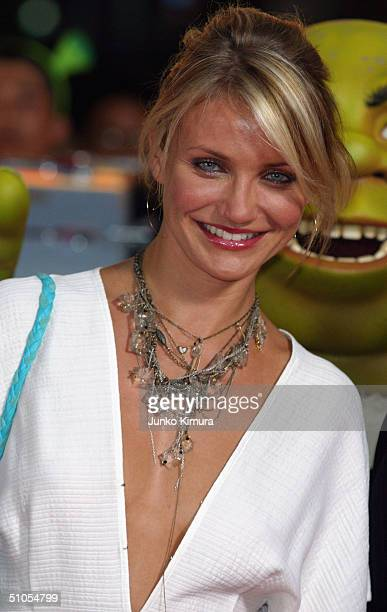 Actress Cameron Diaz attends a redcarpet event to promote 'Shrek 2' on July 13 2004 in Tokyo Japan The film opens on July 24 in Japan