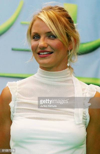 """Actress Cameron Diaz attends an event to promote the film """"Shrek 2"""" on July 14, 2004 in Tokyo, Japan. The film opens on July 24 in Japan."""