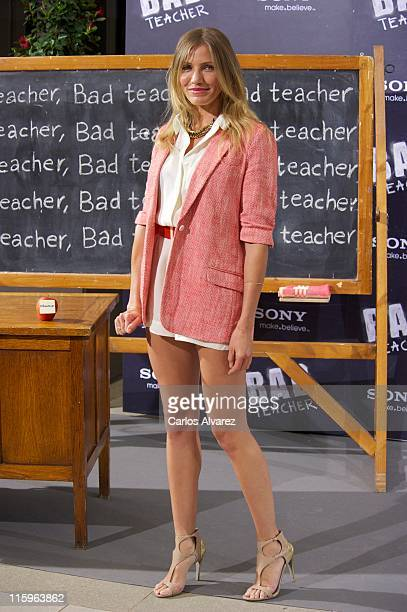 """Actress Cameron Diaz attends """"Bad Teacher"""" Madrid photocall at Hotel Villamagna on June 13, 2011 in Madrid, Spain."""