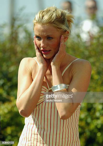 """Actress Cameron Diaz attends the photocall for """"Shrek 2"""" on May 15, 2004 at the Palais de Festival, in Cannes, France."""