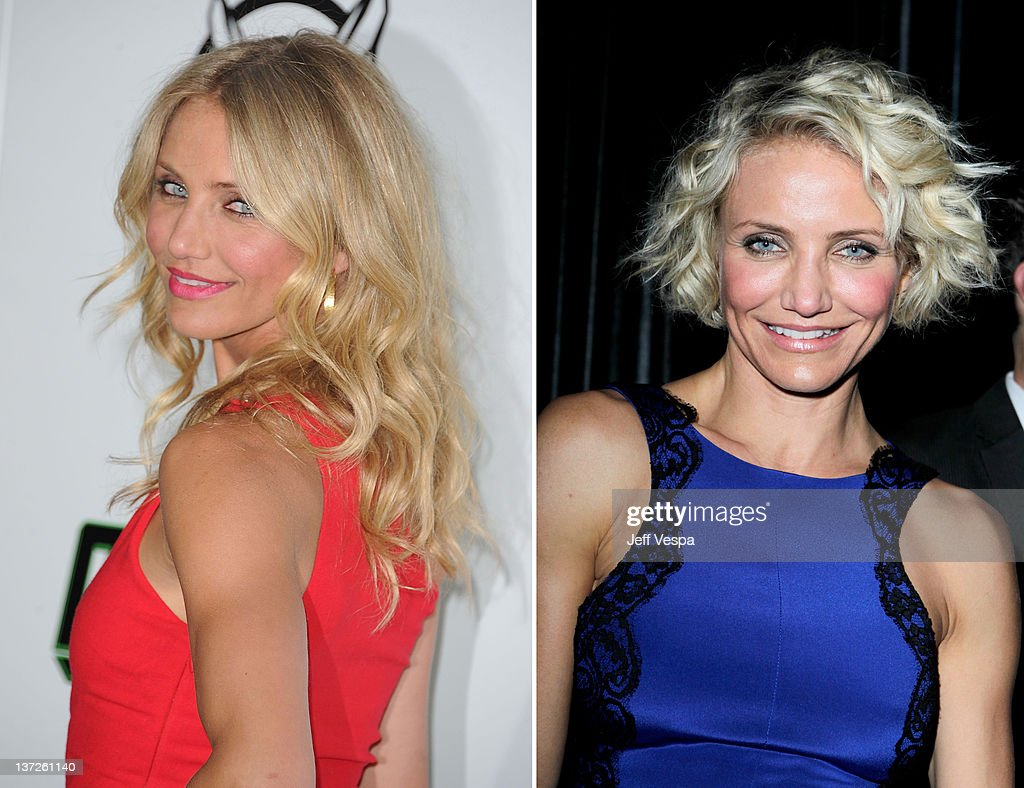 In this composite image a comparison has been made between the long and short hairstyles of Cameron Diaz. Actress Cameron Diaz arrives at Columbia Pictures' 'The Green Hornet' premiere at Graumans Chinese Theatre on January 10, 2011 in Hollywood, California. Actress Cameron Diaz attends The Weinstein Company's 2012 Golden Globe Awards After Party held at The Beverly Hilton hotel on January 15, 2012 in Beverly Hills, California.