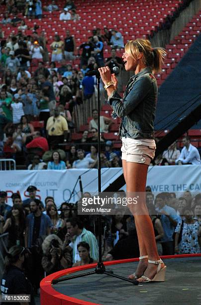 Actress Cameron Diaz during Live Earth New York at Giants Stadium on July 7 2007 in East Rutherford New Jersey