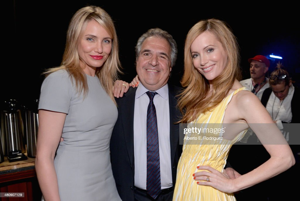 Actress Cameron Diaz, Fox Filmed Entertainment Chairman & CEO Jim Gianopulos and actress Leslie Mann attend 20th Century Fox's Special Presentation Highlighting Its Future Release Schedule during CinemaCon, the official convention of the National Association of Theatre Owners, at The Colosseum at Caesars Palace on March 27, 2014 in Las Vegas, Nevada.