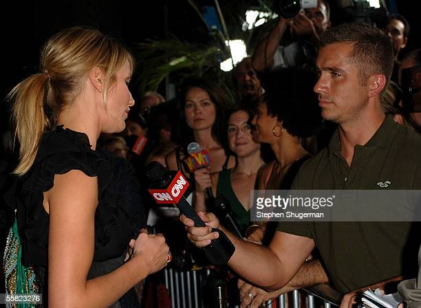 Actress Cameron Diaz is interviewed by the press as she arrives at the premiere of Twentieth Century Fox's 'In Her Shoes' at the Academy of Motion...