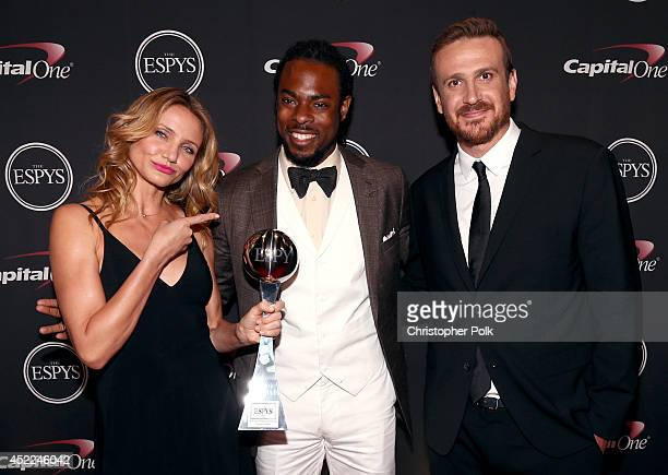 Actress Cameron Diaz NFL player Richard Sherman and Actor Jason Segel acepting the award for Best Breakthrough Athlete at The 2014 ESPYS at Nokia...