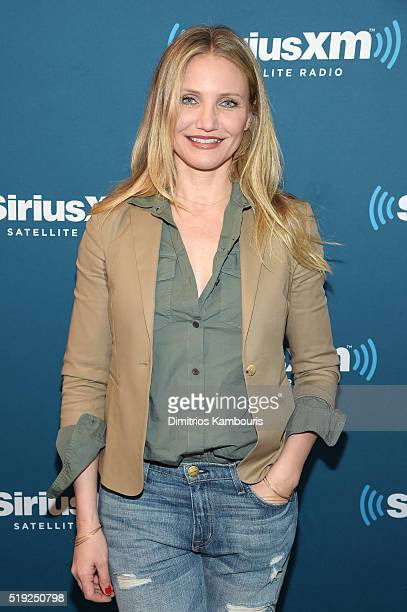 Actress Cameron Diaz poses at SiriusXM's Town Hall after her appearance on Andy Cohen's exclusive SiriusXM channel Radio Andy on April 5 2016 in New...