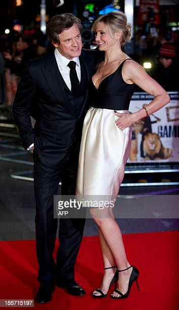 US actress Cameron Diaz poses with British actor Colin Firth on the red carpet as they arrive to attend the World Premier for the film 'Gambit' in...