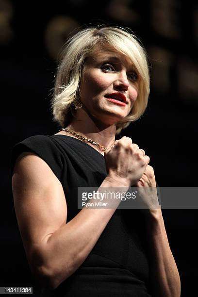 Actress Cameron Diaz speaks onstage at a Will Rogers Motion Picture Pioneers Foundation dinner honoring DreamWorks Animation CEO Jeffrey Katzenberg...