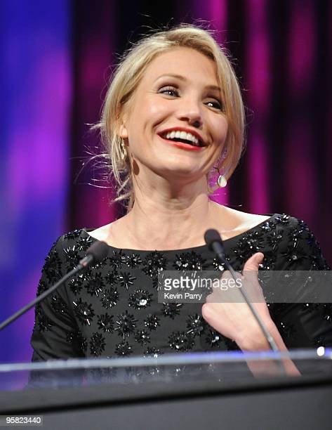 Actress Cameron Diaz speaks onstage at the G'Day USA 2010 Black Tie gala at the Hollywood Highland Center on January 16 2010 in Hollywood California