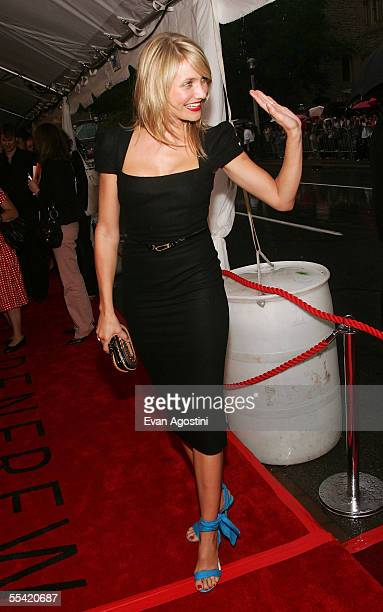 Actress Cameron Diaz waves to fans at the gala premiere of In Her Shoes at Roy Thomson Hall on September 14 2005 in Toronto Ontario Canada