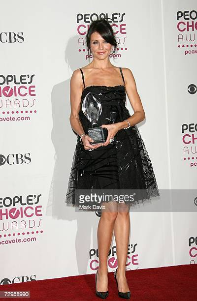 Actress Cameron Diaz winner of the Leading Lady award poses in the press room during the 33rd Annual People's Choice Awards held at the Shrine...