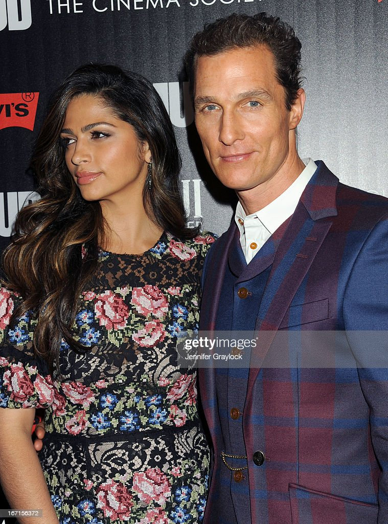 Actress Camila Alves and Actor Matthew McConaughey attend The Cinema Society Screening Of 'Mud' hosted by Fiji Water and Levis held at The Museum of Modern Art on April 21, 2013 in New York City.