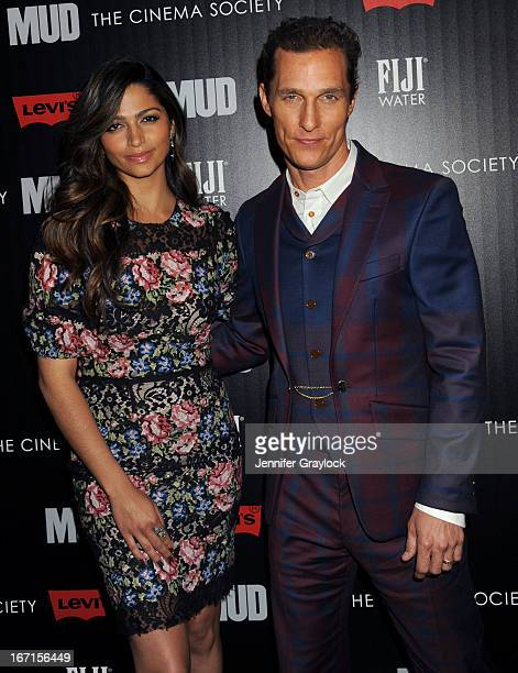 Actress Camila Alves and Actor Matthew McConaughey attend The Cinema Society Screening Of Mud hosted by Fiji Water and Levis held at The Museum of...