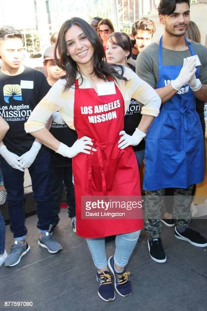 Actress Camila Banus is seen at the Los Angeles Mission Thanksgiving Meal for the homeless at the Los Angeles Mission on November 22 2017 in Los...