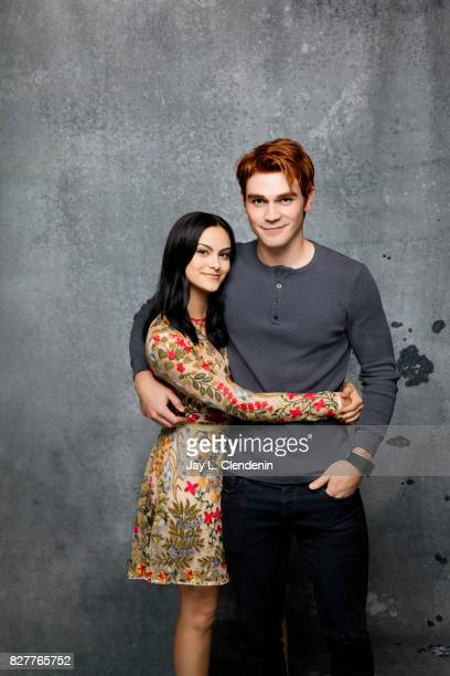 Actress Camila Mendes and actor KJ Apa from the television series Riverdale are photographed in the LA Times photo studio at ComicCon 2017 in San...