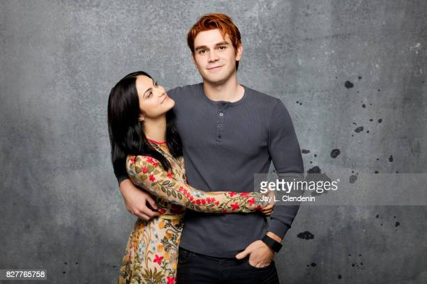 Actress Camila Mendes and actor KJ Apa from the television series 'Riverdale' are photographed in the LA Times photo studio at ComicCon 2017 in San...
