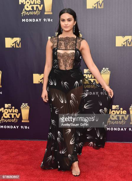 Actress Camila Mendes attends the 2018 MTV Movie And TV Awards at Barker Hangar on June 16 2018 in Santa Monica California