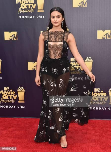 Actress Camila Mendes attends the 2018 MTV Movie And TV Awards at Barker Hangar on June 16, 2018 in Santa Monica, California.