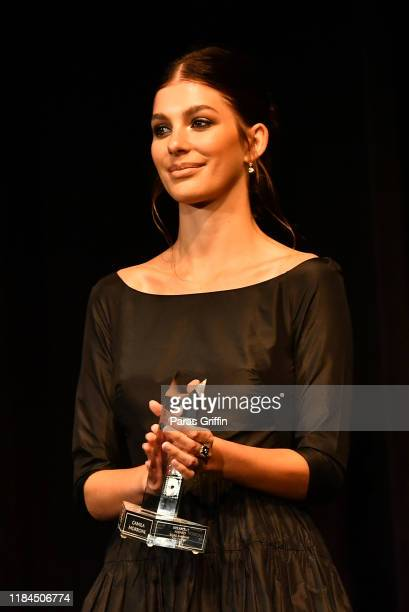 Actress Camila Morrone accepts the Breakout Award during the 22nd SCAD Savannah Film Festival on October 30, 2019 at Trustees Theater in Savannah,...