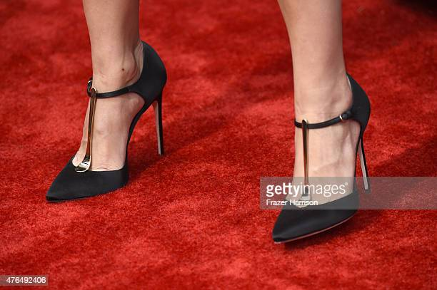 Actress Camilla Belle shoe detail attends the Universal Pictures' Jurassic World premiere at Dolby Theatre on June 9 2015 in Hollywood California