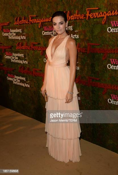 Actress Camilla Belle wearing Ferragamo arrives at the Wallis Annenberg Center for the Performing Arts Inaugural Gala presented by Salvatore...
