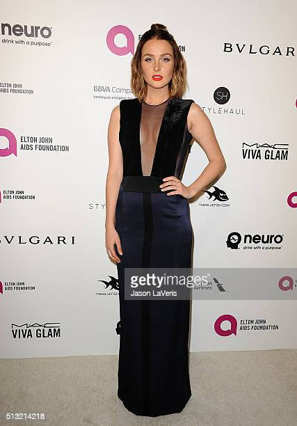 Actress Camilla Luddington attends the 24th annual Elton John AIDS Foundation's Oscar viewing party on February 28, 2016 in West Hollywood,...