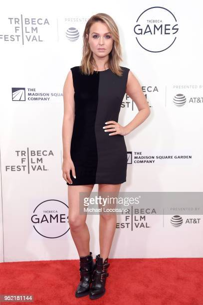 Actress Camilla Luddington attends the Tribeca Games Shadow of the Tomb Raider panel during the 2018 Tribeca Film Festival at BMCC Tribeca PAC on...