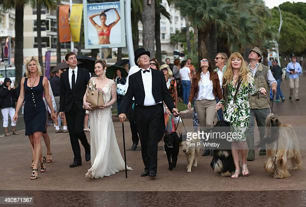 Actress Camilla Rutherford and cast on set of Palm Dog during the 67th Annual Cannes Film Festival on May 22 2014 in Cannes France