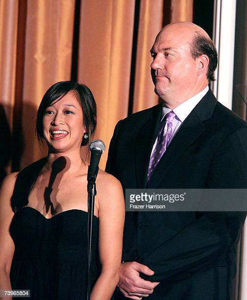 Actress Camille Chen and actor John Carroll Lynch present the Best Talk Show Episode award onstage during the 11th annual PRISM Awards at the Beverly...