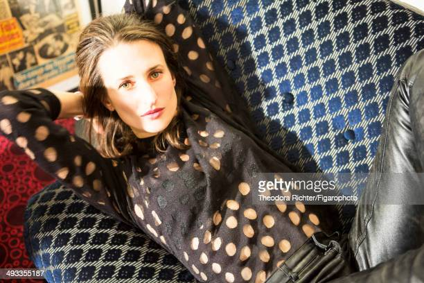 109150008 Actress Camille Cottin is photographed for Madame Figaro on February 5 2014 in Paris France Shirt and pants bracelet earrings CREDIT MUST...
