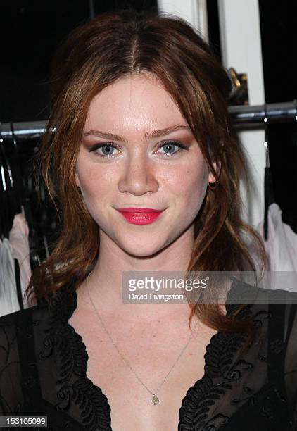 Actress Camille Cregan attends designer Jane Booke's launch of her new clothing fragrance line TAKEN with Rosanna Arquette to benefit Give Love at...