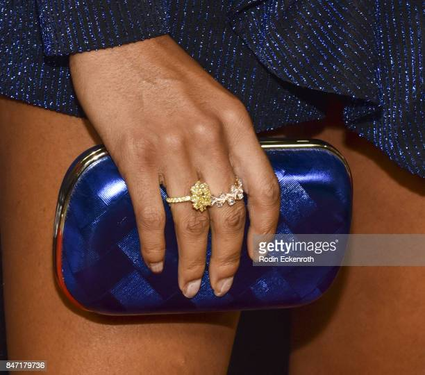 Actress Camille Hyde purse fashion detail attends the premiere of Netflix's American Vandal at ArcLight Hollywood on September 14 2017 in Hollywood...