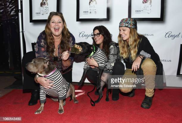 Actress Camryn Manheim and comedians Rebecca Corry and Mo Collins arrive at the 8th Annual Stand Up For Pits at the Hollywood Improv Comedy Club on...