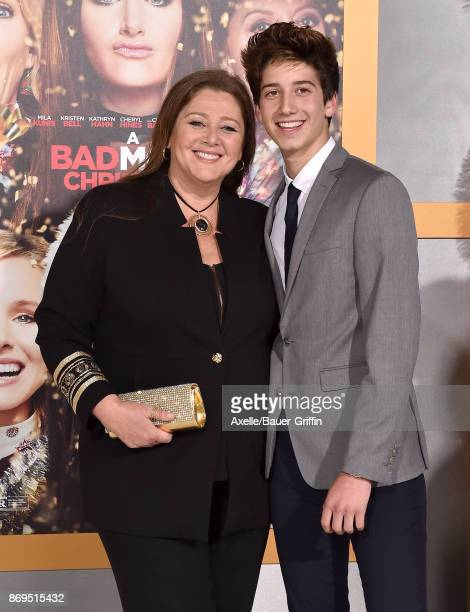 Actress Camryn Manheim and son Milo Manheim arrive at the Los Angeles premiere of 'A Bad Moms Christmas' at Regency Village Theatre on October 30...