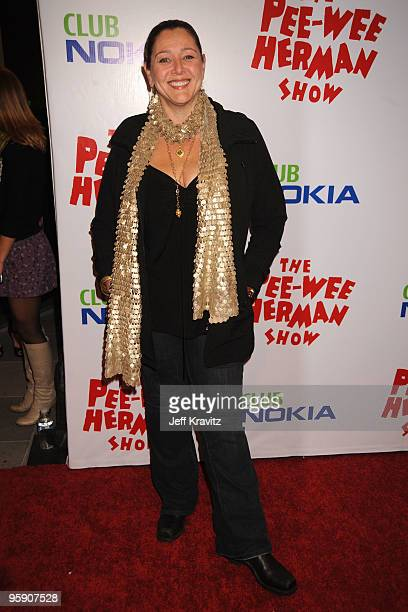 Actress Camryn Manheim arrives at The Peewee Herman Show Los Angeles Opening Night at Club Nokia on January 20 2010 in Los Angeles California