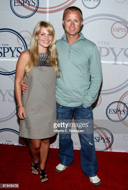 Actress Candace Cameron and NHL player Valeri Bure arrive at the 2008 ESPYs Giant Event hosted by Giants quarterback Eli Manning and held at the J...