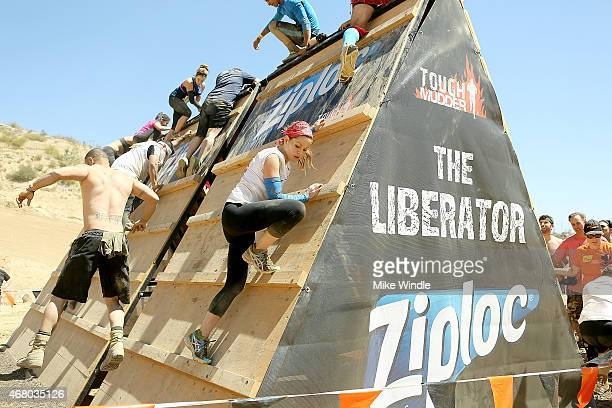 Actress Candace Cameron Bure takes on the Tough Mudder obstacle course in celebration of tough mothers everywhere on March 28 2015 in San Bernardino...