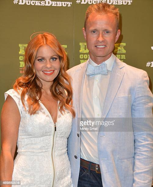 Actress Candace CameronBure and Valeri Bure arrive at the Duck Commander Musical opening night at the Rio Hotel Casino on April 15 2015 in Las Vegas...