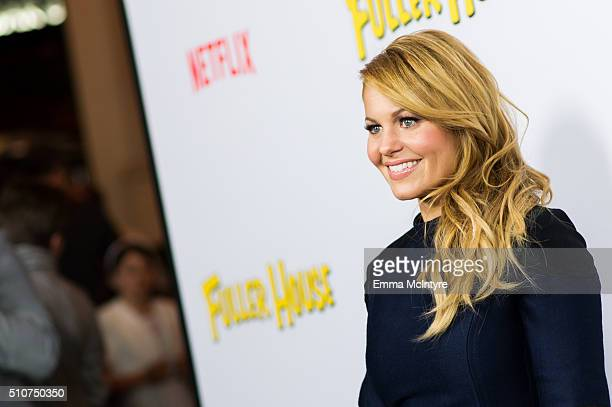Actress Candace CameronBure attends the premiere of Netflix's 'Fuller House' at Pacific Theatres at The Grove on February 16 2016 in Los Angeles...