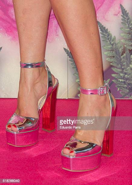 Actress Candela Pena shoes detail attends 'Kiki el amor se hace' premiere at Capitol cinema on March 30 2016 in Madrid Spain