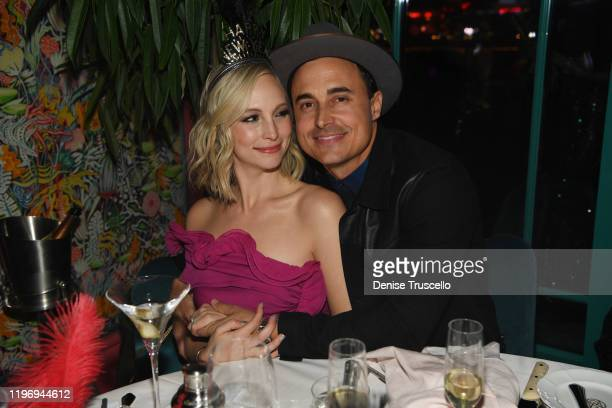 Actress Candice Accola and guitarist/songwriter of The Fray Joe King and actor Tanner Novlan attend Mayfair Supper Club during its debut on New Years...