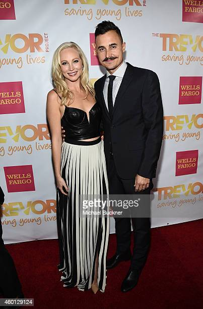 Actress Candice Accola and musician Joe King attend TrevorLIVE LA Honoring Robert Greenblatt Yahoo and Skylar Kergil for The Trevor Project at...