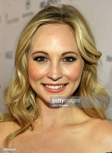 Actress Candice Accola arrives at the 2011 Art Of Elysium Heaven Gala held at the California Science Center on January 15 2011 in Los Angeles...