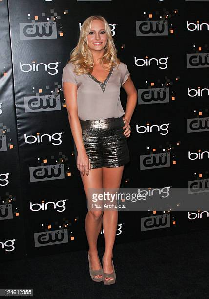 Actress Candice Accola arrives at the The CW premiere party at Warner Bros Studios on September 10 2011 in Burbank California