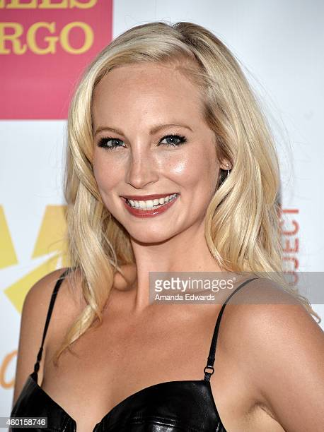Actress Candice Accola arrives at the TrevorLIVE Los Angeles benefit event at the Hollywood Palladium on December 7 2014 in Los Angeles California