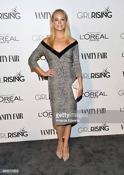 Actress Candice Accola arrives at the Vanity Fair And L'Oreal Paris Girl Rising benefit at 1 OAK on February 20 2015 in West Hollywood California