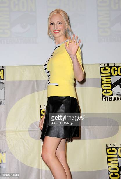Actress Candice Accola attends the The Vampire Diaries panel during ComicCon International 2015 at the San Diego Convention Center on July 12 2015 in...