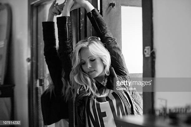 Actress Candice Accola poses at a portrait session for Nylon Magazine on July 05 2010 in Los Angeles California Published Image